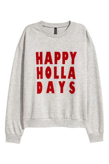 Printed sweatshirt - Light grey marl -  | H&M