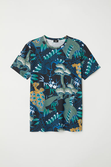 Printed T-shirt - Green/Patterned -  | H&M