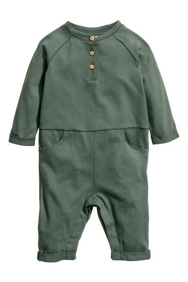 Cotton jersey all-in-one suit - Khaki green -  | H&M