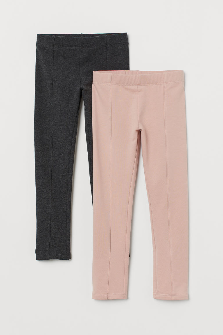 2-pack Thick Jersey Leggings - Pink/gray melange - Kids | H&M CA