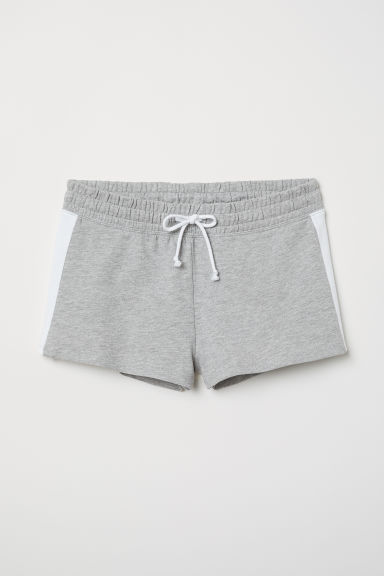 Short sweatshirt shorts - Light grey marl/White -  | H&M