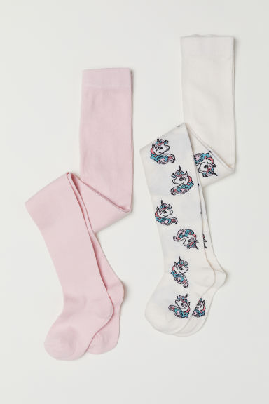 2-pack fine-knit tights - White/Unicorn - Kids | H&M CN