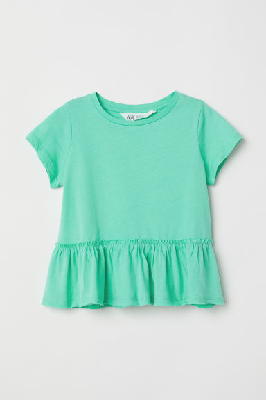 Short-sleeved flounced top - Green - Kids | H&M