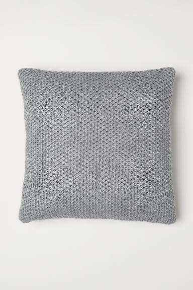 Knitted cushion cover - Light grey marl - Home All | H&M CN