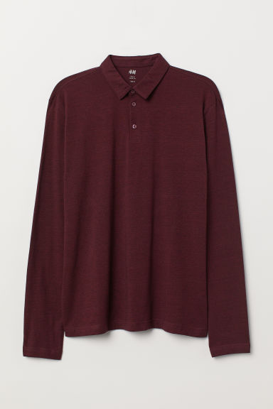 Polo shirt Slim Fit - Burgundy marl - Men | H&M