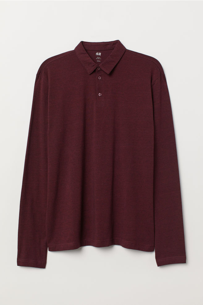 cb0be6a1 Polo shirt Slim Fit - Burgundy marl - Men | H&M ...