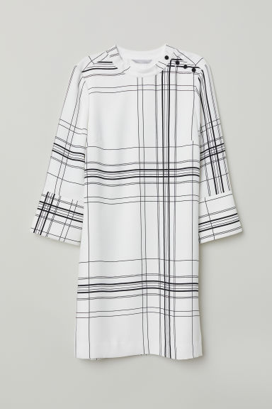 Dress with a stand-up collar - White/Checked -  | H&M