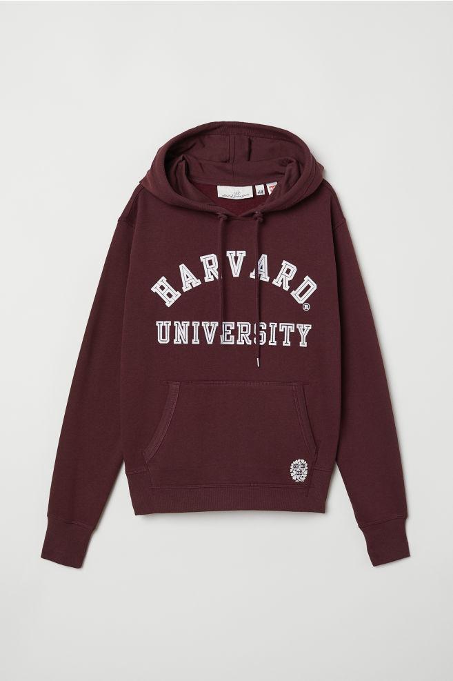 473d7b5322f1 Printed Hooded Sweatshirt - Burgundy - Ladies