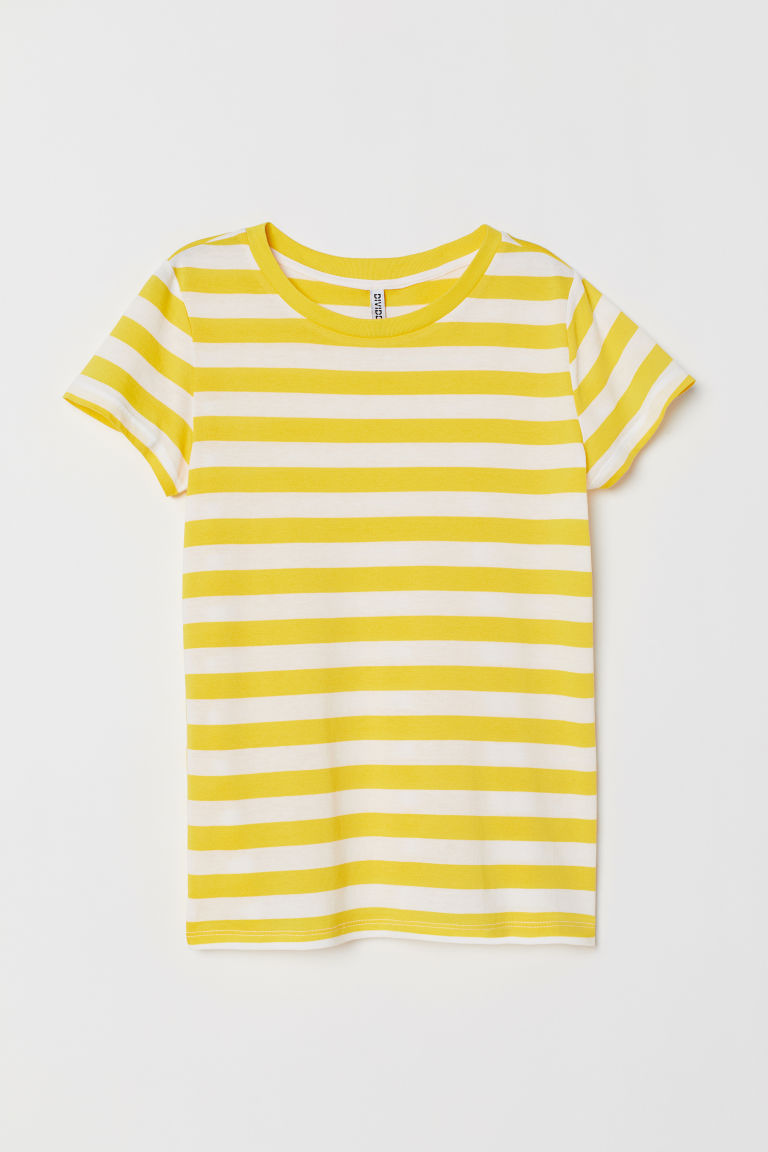 Jersey T-shirt - Yellow/White striped -  | H&M CN