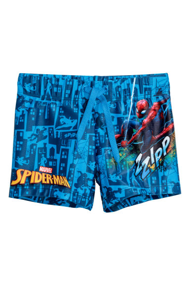 Printed swimming trunks - Blue/Spider-Man -  | H&M