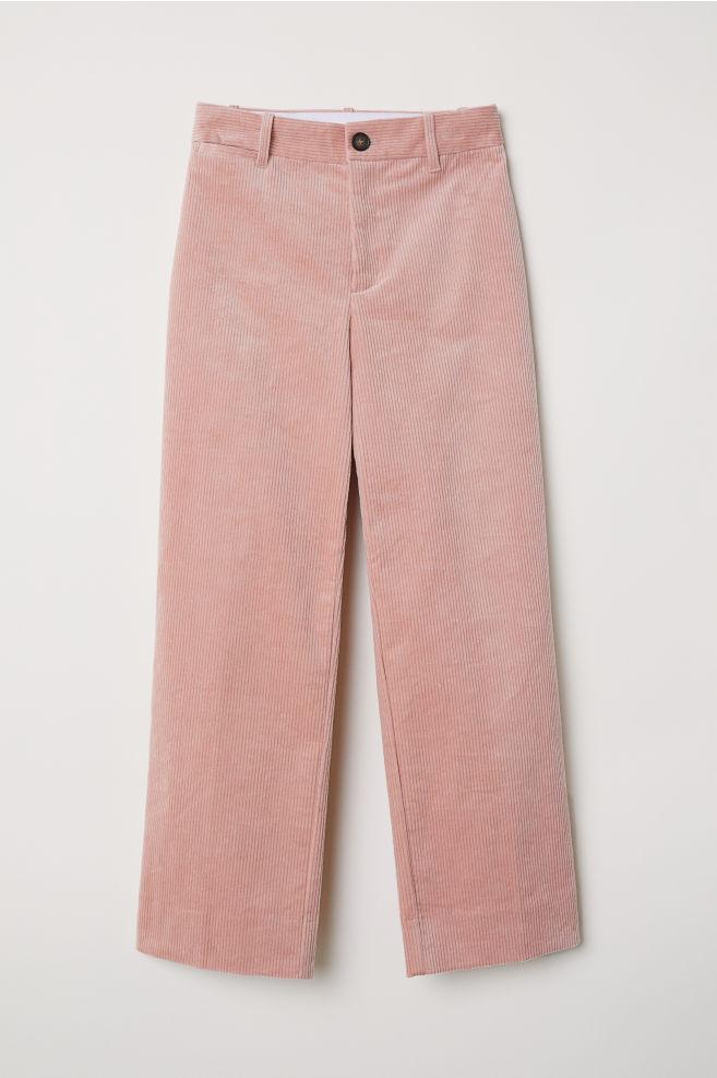 28e394bb Wide corduroy trousers - Powder pink - Ladies | H&M ...