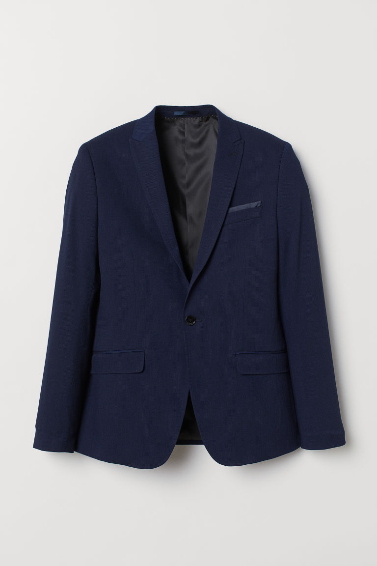 Dobby-weave jacket Skinny Fit - Dark blue - Men | H&M CN