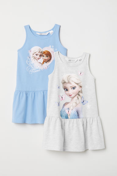 2-pack jersey dresses - Light grey marl/Frozen - Kids | H&M