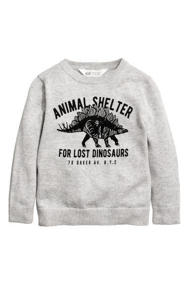 Fine-knit jumper - Light grey/Dinosaur - Kids | H&M CN