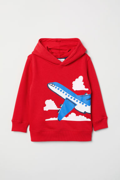 Printed hooded top - Red/Aeroplane - Kids | H&M CN