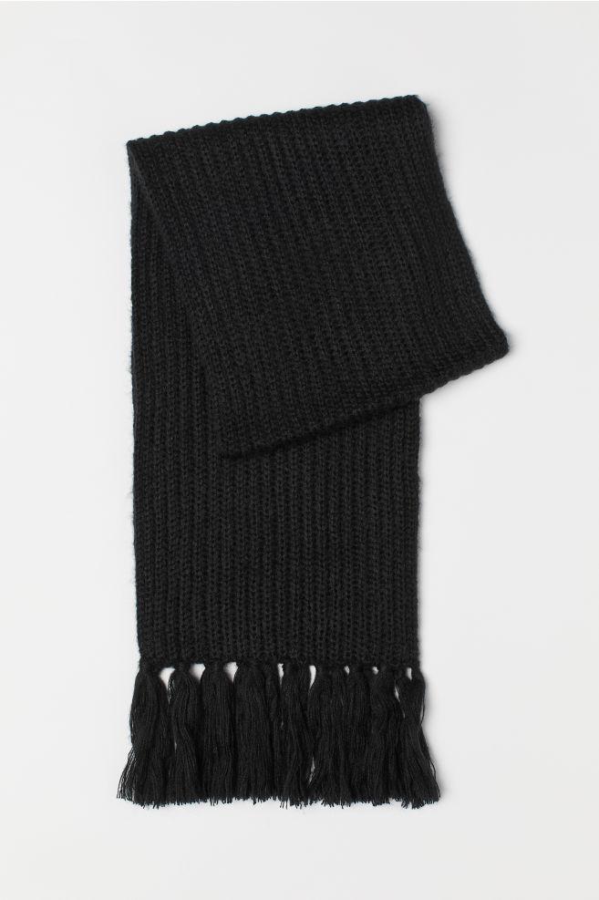 531c3671ce4 Écharpe en maille côtelée - Noir - FEMME