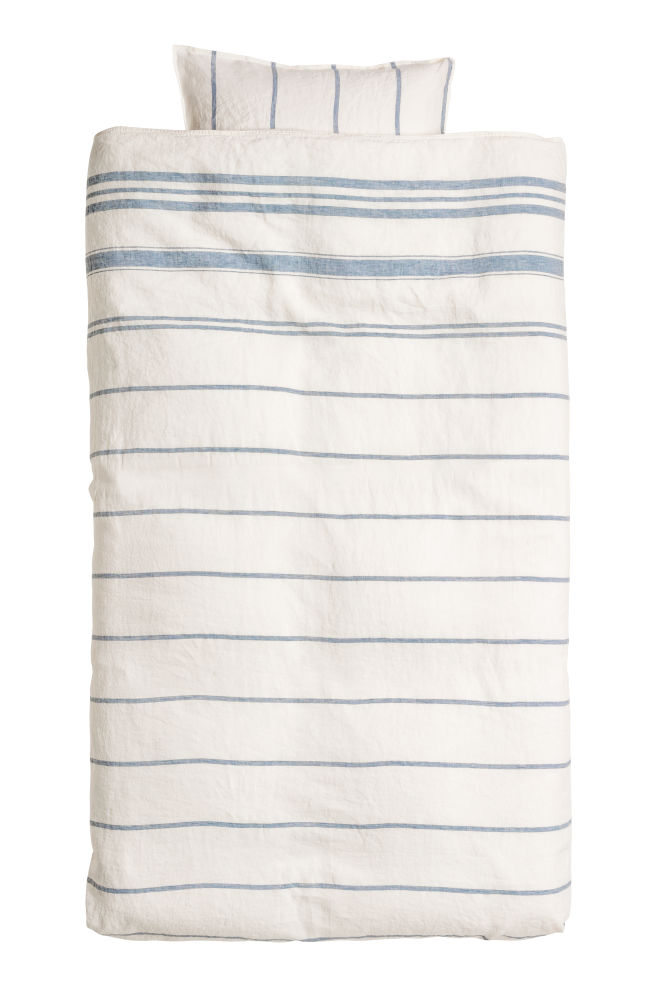 Washed Linen Duvet Cover Set Whiteblue Striped Home All Hm Us