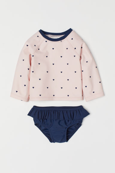 Swim set with UPF 50 - Light pink/Hearts -  | H&M