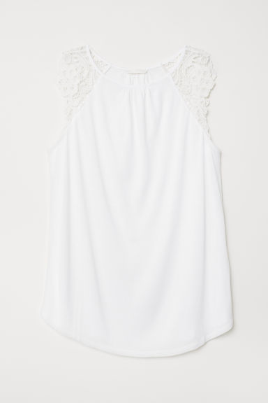 Jersey top with lace - White - Ladies | H&M CN