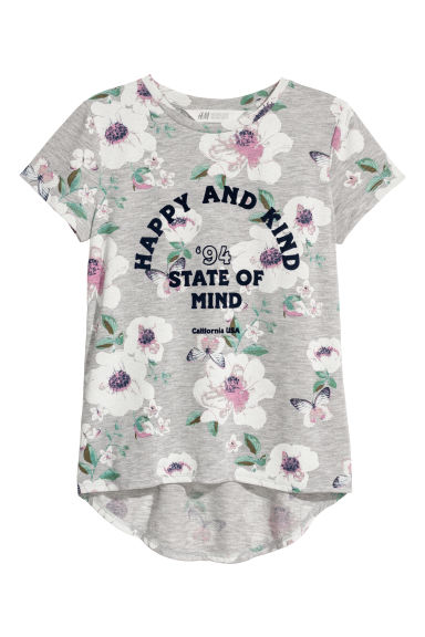 Top with a motif - Light grey/Floral - Kids | H&M
