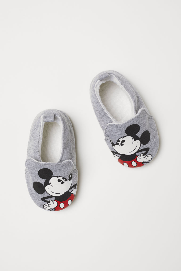 Soft slippers - Light grey marl/Mickey Mouse - Kids | H&M