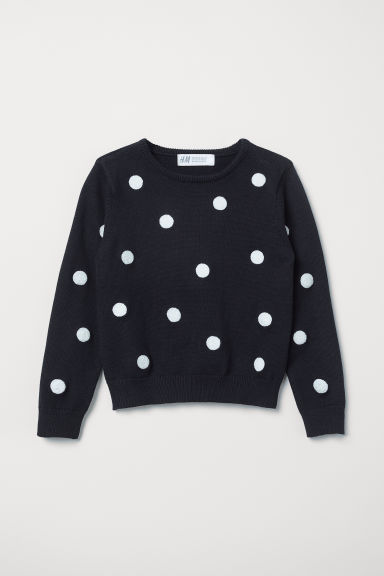 Fine-knit jumper - Dark blue/Spotted - Kids | H&M