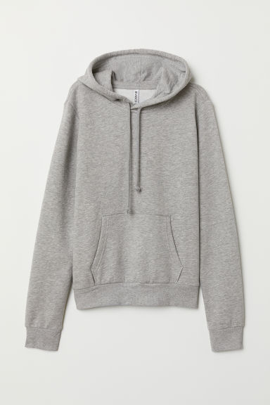 Hooded top - Light grey marl -  | H&M