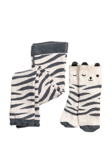 Knitted leggings and socks - Light mole/Tiger - Kids | H&M CN