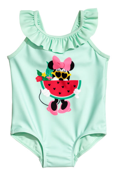 Swimsuit with frills - Mint green/Minnie Mouse - Kids | H&M