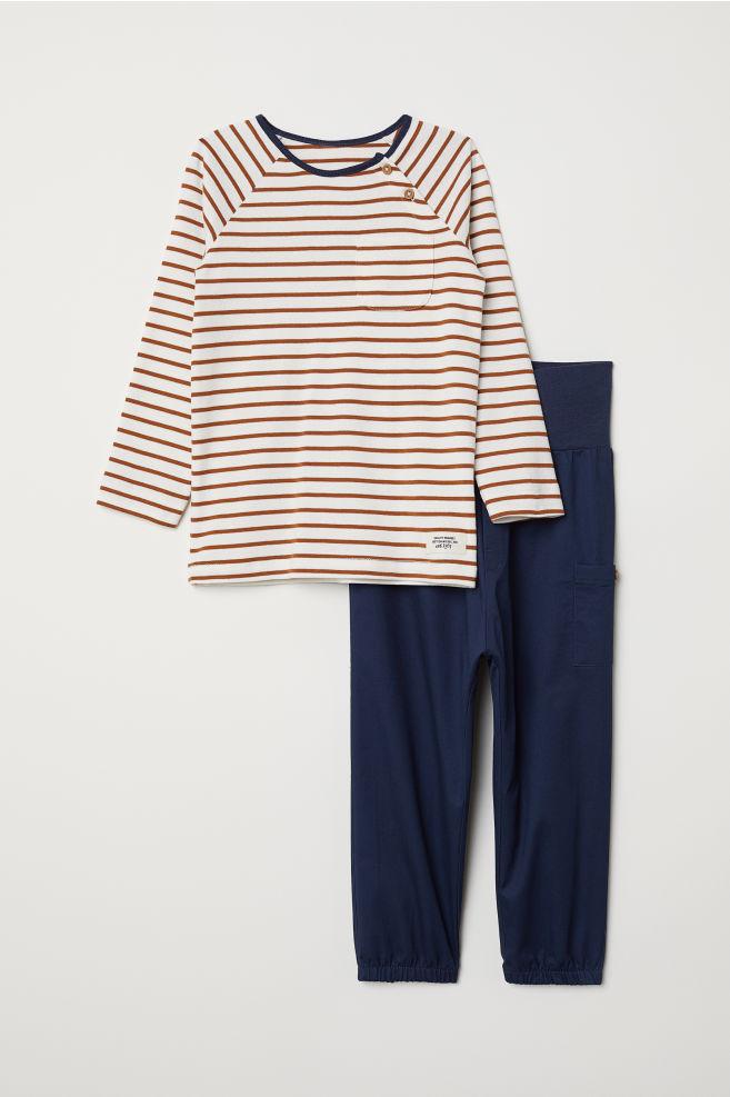 4bb600fa446f67 Shirt und Hose - Dunkelblau Gestreift - KINDER