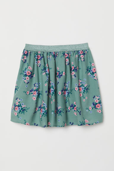 Patterned viscose skirt - Green/Floral - Kids | H&M