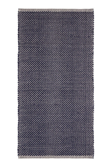 Patterned cotton rug - Natural white/Dark blue - Home All | H&M CN