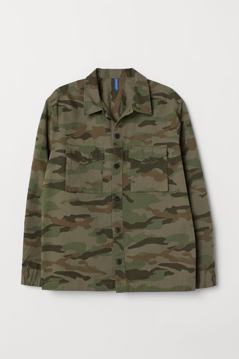 Patterned utility jacket - Khaki green/Patterned - Men | H&M