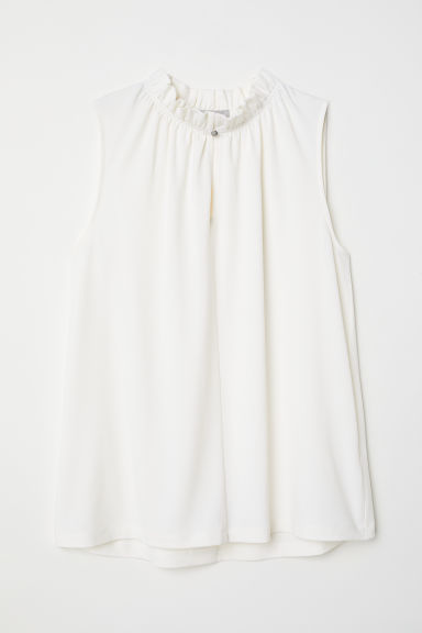 Crêpe top - Cream - Ladies | H&M CN