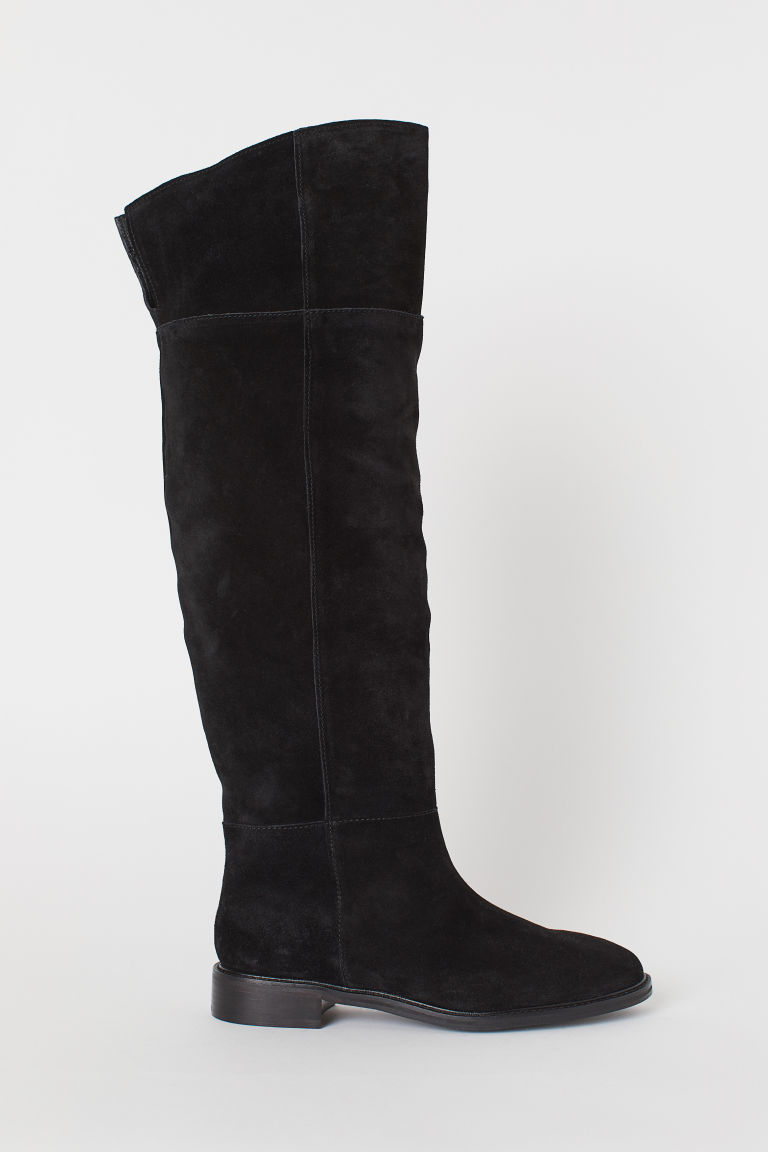 Suede knee-high boots - Black - Ladies | H&M