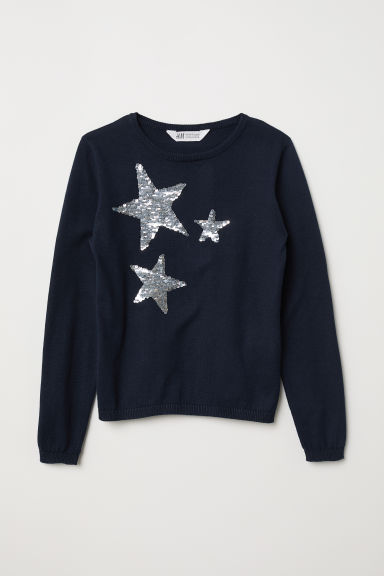 Jumper with sequins - Dark blue/Stars - Kids | H&M