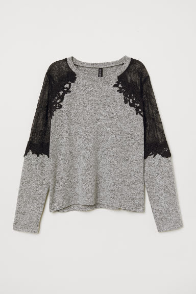 Fine-knit jumper with lace - Grey marl/Black -  | H&M CN