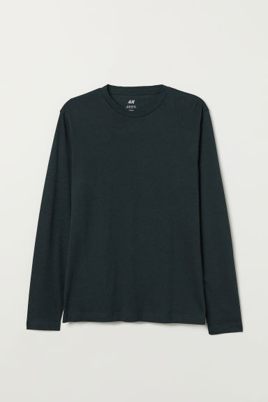 Long-sleeved Regular Ft Shirt - Dark green melange - Men | H&M US