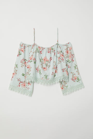 Off-the-shoulder blouse - Light turquoise/Floral - Ladies | H&M