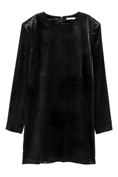 Velvet dress - Black - Ladies | H&M GB