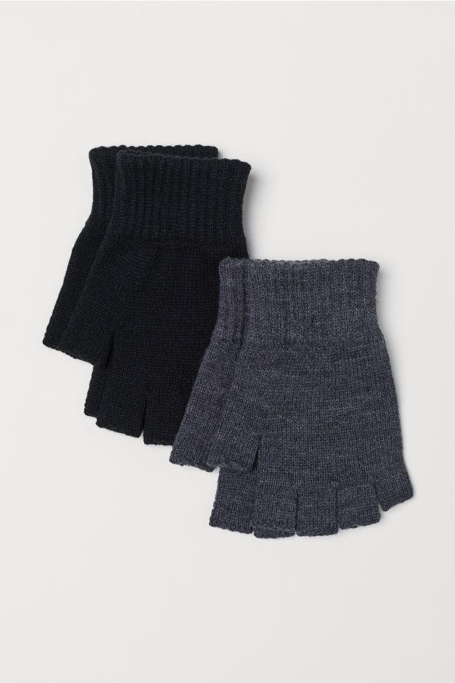 f38591e10af 2-pack Fingerless Gloves - Black - Men