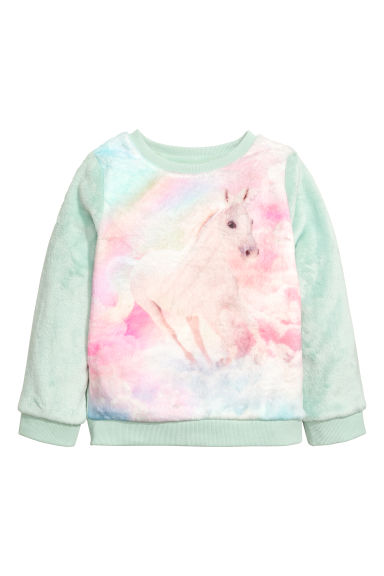 Sweatshirt i fleece - Mintgrön/Enhörning -  | H&M FI