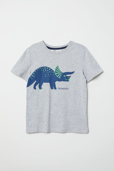 Printed T-shirt - Light grey/Triceratops - Kids | H&M