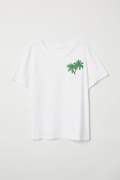 T-shirt with a motif - White/Palm trees - Ladies | H&M CN