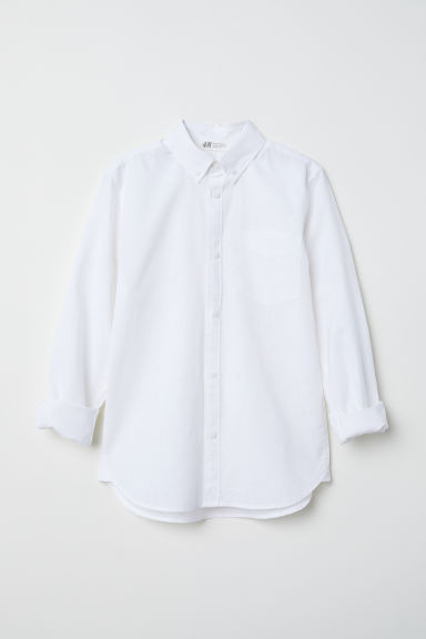 Linen-blend shirt - White - Kids | H&M CN