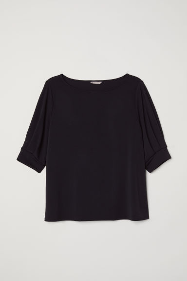 H&M+ Puff-sleeved jersey top - Black -  | H&M CN