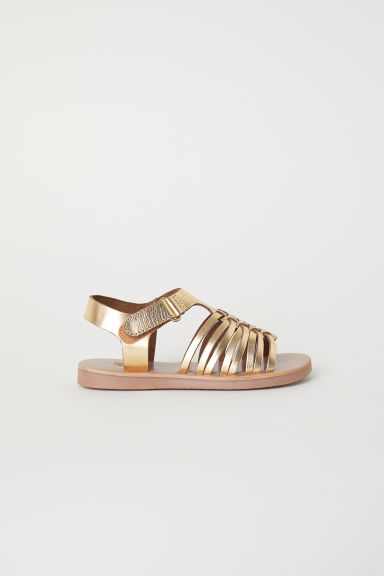 Leather sandals - Gold-coloured -  | H&M CN