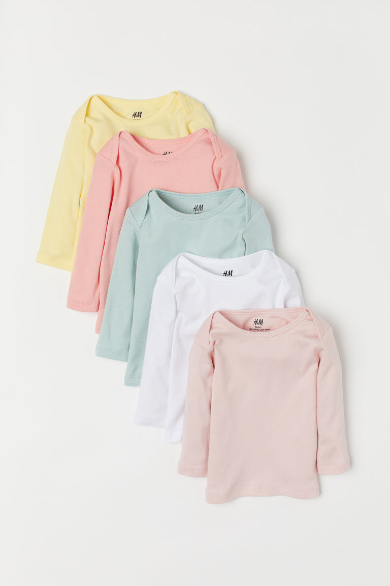 5-pack jersey tops - Powder pink/Multicoloured - Kids | H&M