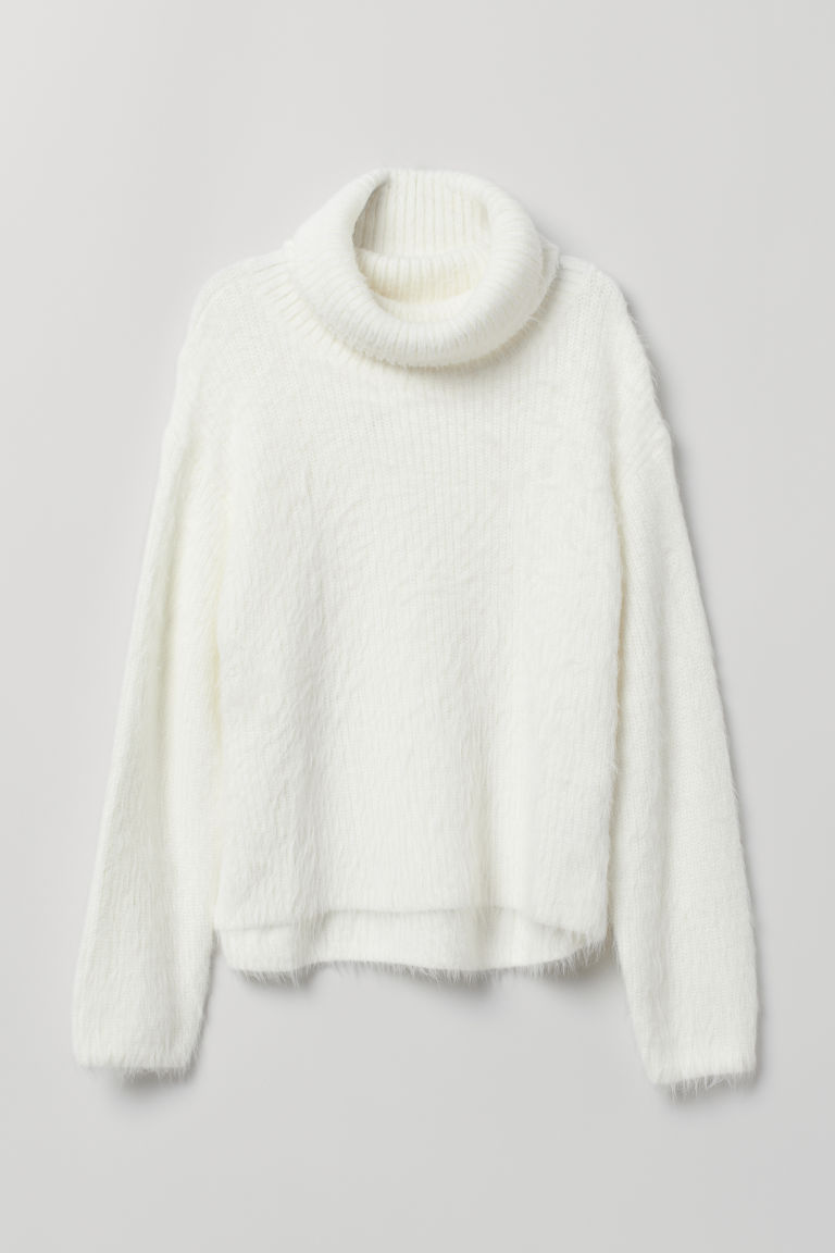 Knitted polo-neck jumper - White - Ladies | H&M CN