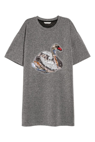 Sequined T-shirt - Grey glittery/Swan -  | H&M CN